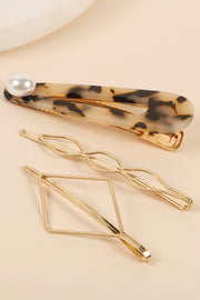 Acetate Pearl Pin Metal Bobby Pins Set of Three
