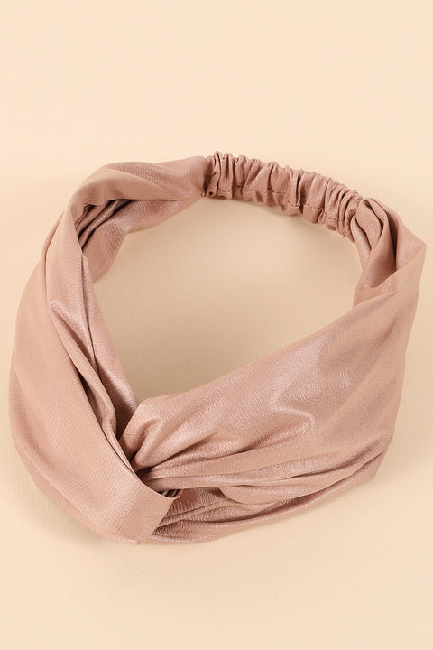Faux Leather Solid Twisted Headband