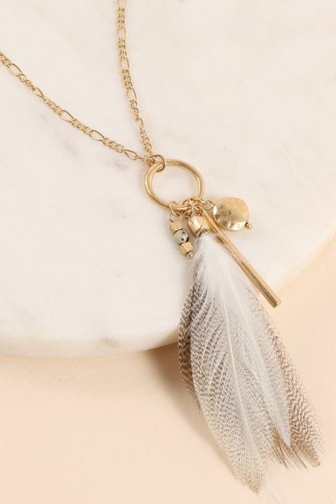 Feather Metal Pendant Metal Charms Long Necklace