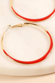 Enamel Round Hoop Earrings