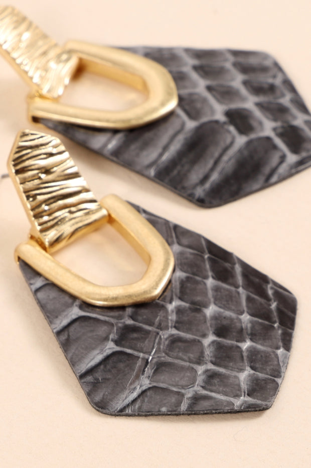 Animal Print PU Leather Drop Earrings