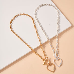 Heart Toggle Charms Layered Necklace