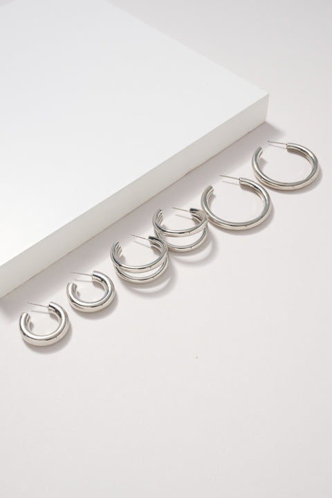 Shiny Metal Hoop Earrings Set
