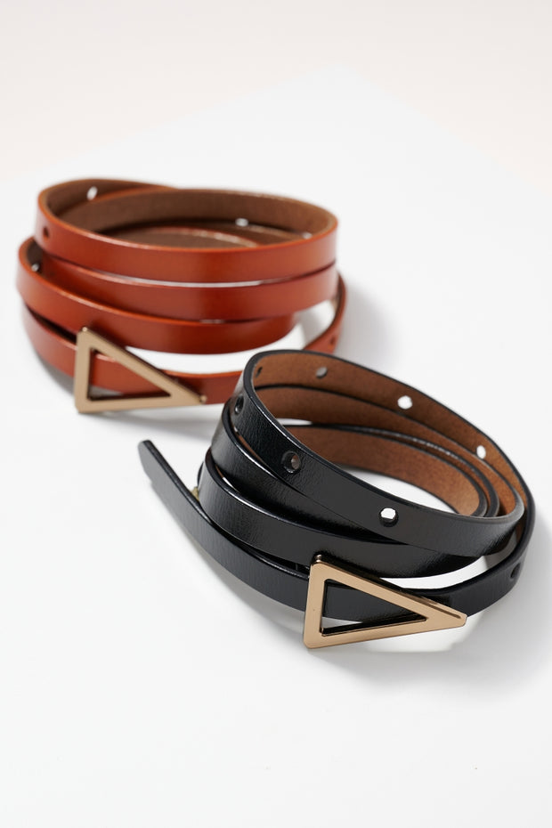 Triangle Metal Buckle Leather Belt