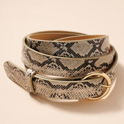 Round Metal Buckle Animal Faux Leather Belt
