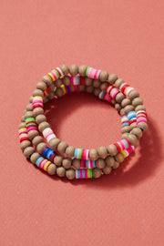 Rubber Wooden Beaded Bracelet Set
