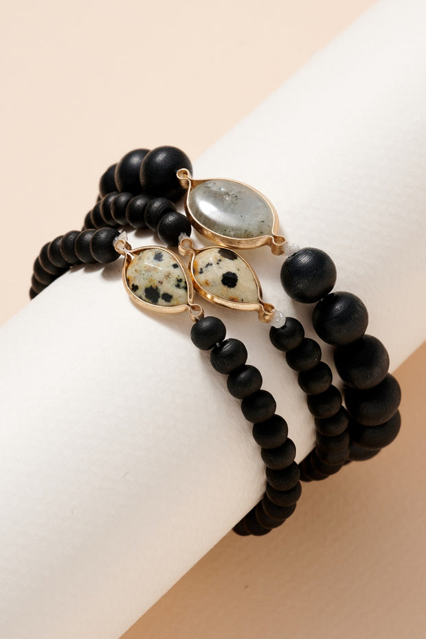 Stone Charms Wooden Beads Bracelet