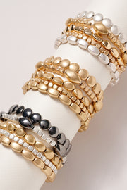 Metal Beaded Stretch Bracelet Set