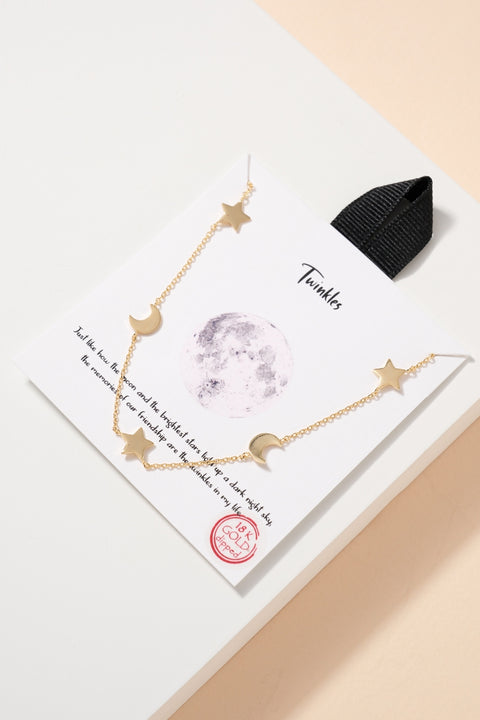 Star Crescent Moon Gold Dip Short Necklace