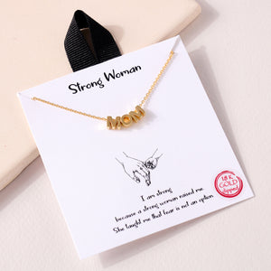 Mom Letters Charm Gold Dip Necklace