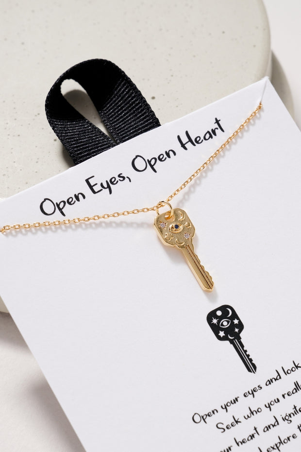 Key Pendant Gold Dip Short Necklace 1