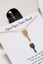 Key Pendant Gold Dip Short Necklace