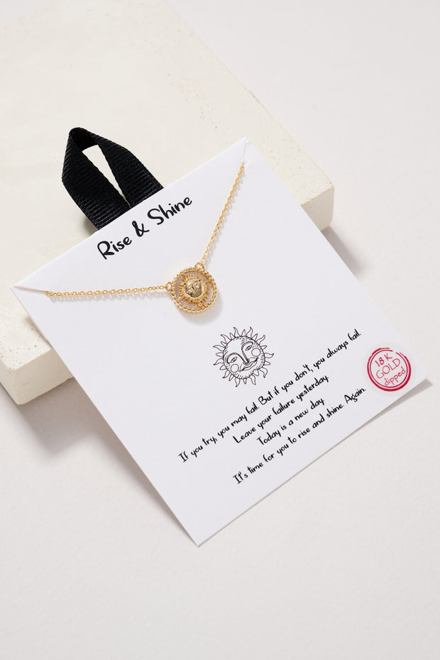 Sun Charm MOP Gold Dip Necklace