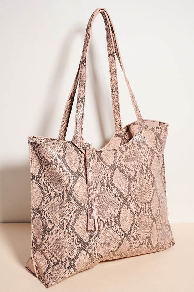Python Print Faux Leather Tote Bag