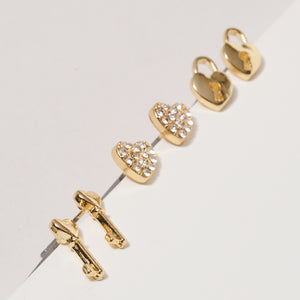 Heart Lock Key Stud Earrings Set