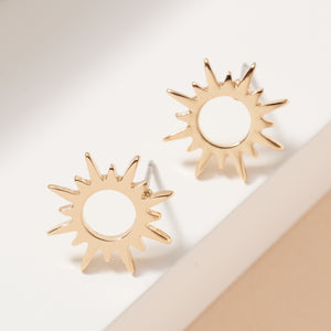 Sun Metal Stud Earrings