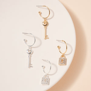 Key Lock Charm Hoop Earrings