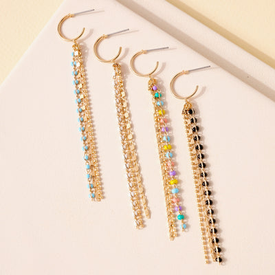 Stone Beads Chain Tassel Earrings