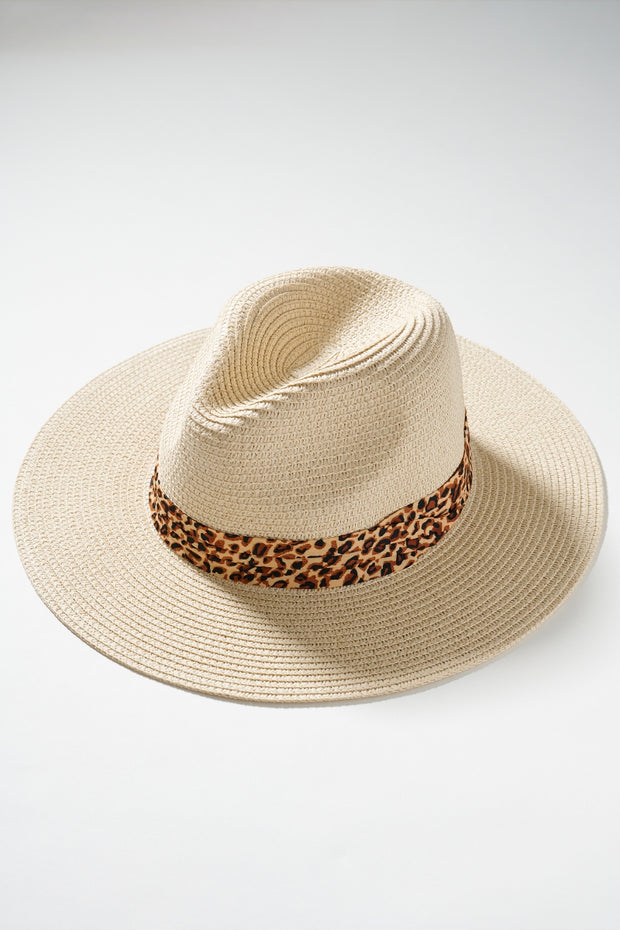 Animal Print Strap Straw Panama Hat