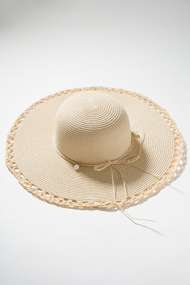 Pearl String Bow Straw Hat