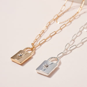 Lock Charm Chain Linked Layered Necklace