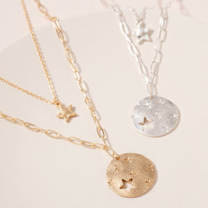 Disc Star Charms Layered Necklace