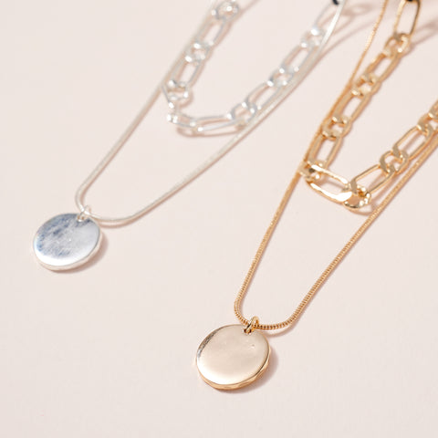 Metal Disc Charm Layered Necklace