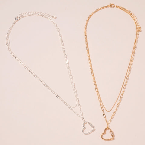 Heart Charm Layered Necklace