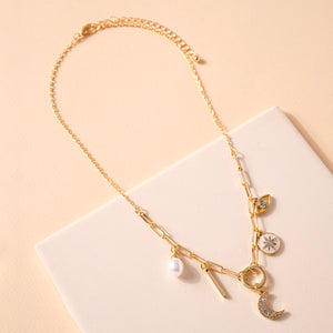 Pearl Moon Multi Charm Necklace
