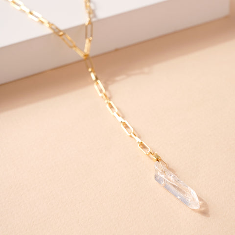 Crystal Charm Y Shape Necklace