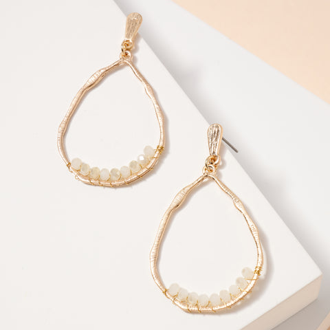 Glass Beaded Tear Drop Dangling Earrings