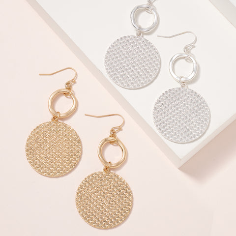 Textured Metal Disc Dangling Earrings
