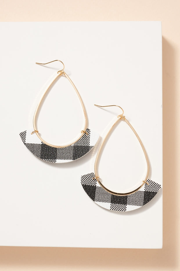 Leather Patch Tear Drop Earrings