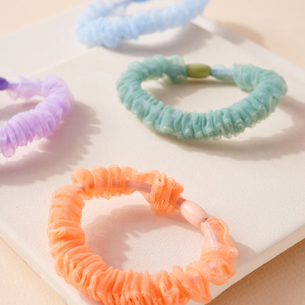 Set of Polka Dot and Solid Organza Hair Scrunchies