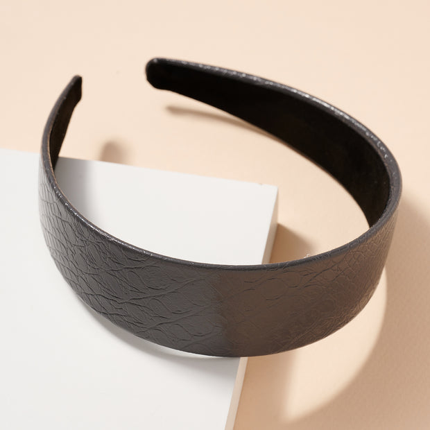 Cracked Leather Wide Head Band