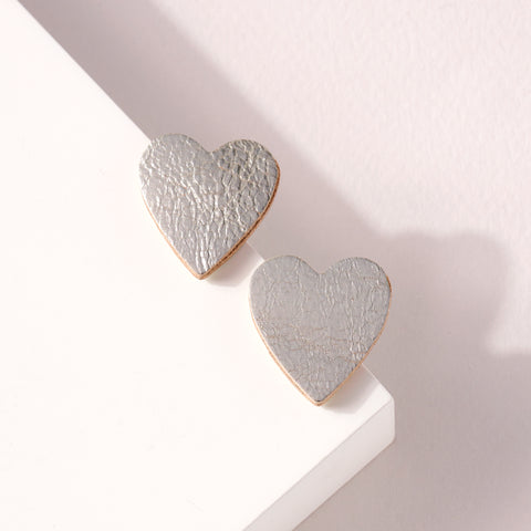 Heart Genuine Leather Stud Earrings