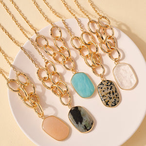 Stone Charm Chain Linked Necklace