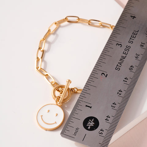 Smiley Charm Chain Linked Bracelet
