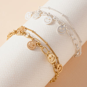 Smiley Face Charms Layered Bracelet
