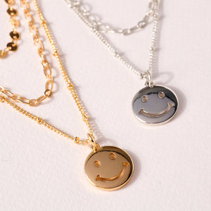 Smiley Face Charm Layered Necklace