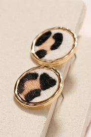 Animal Print Calf Hair Stud Earrings