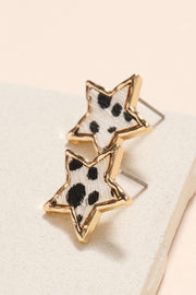 Star Animal Print Calf Hair Stud Earrings