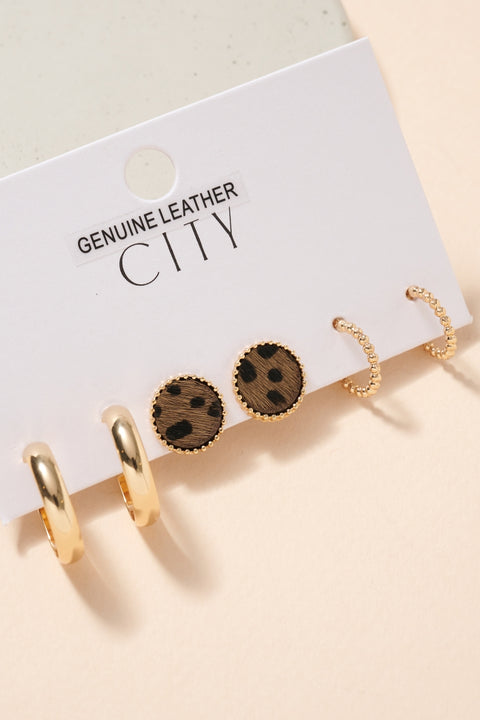Animal Print Calf Hair Earrings Set