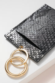 Snake Skin Embossed Leather ID Holder Key Chain