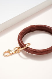 Crock Embossed Leather Key Ring
