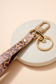 Animal Print Leather Key Strap