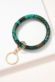 Snake Print Leather Key Ring