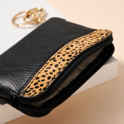 Animal Print Calf Hair Leather Pouch Key Chain