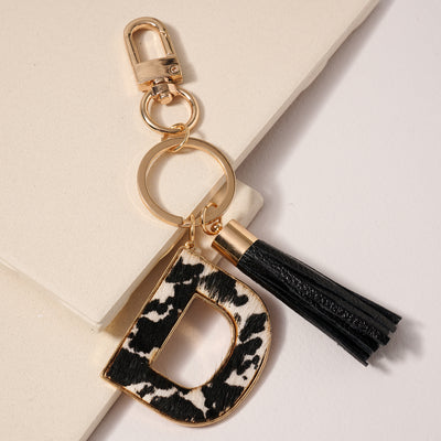 12 Assorted Genuine Leather Initial Key Chain