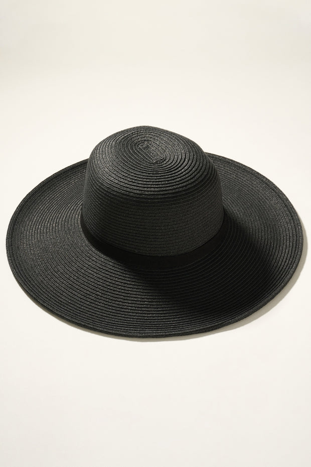 Wide Brim Sun Hat with Suede Ribbon